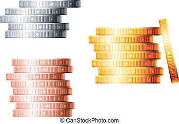 Stacks of coins - Stacks of golden, silver and bronze coins...
