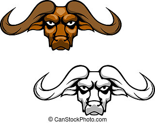 Buffalo head mascot - Buffalo or bull head with long hornes...