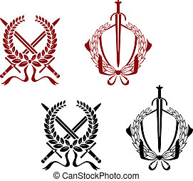 Laurel wreathes with swords and sabers
