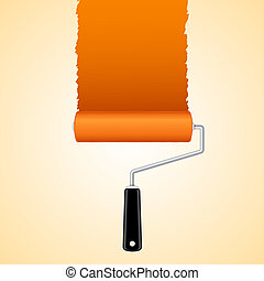 Paint roller brush with orange, vector illustration
