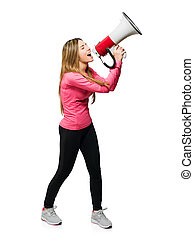 Young Woman Shouting Through Megaphone Isolated On White...