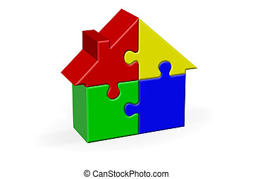 House Jigsaw Puzzle - House Built Out of Jigsaw Like Blocks