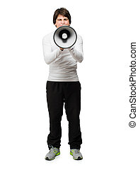Young Man Shouting Through Megaphone Isolated On White...