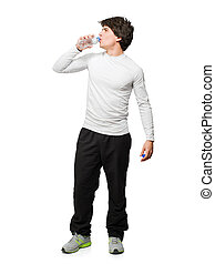 Young Man Drinking Water Isolated On White Background