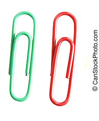 two paperclip over white background