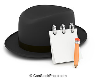 classic hat with notepad and pencil isolated on white. 3d...