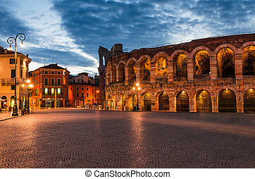 Piazza Bra and Arena, Verona amphitheatre in Italy - The...
