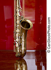 Saxophone brass music instrument - Shiny golden shimmering...