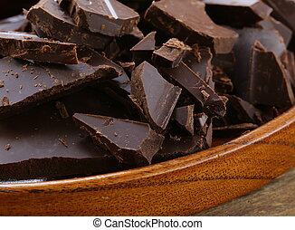 black dark chocolate chopped into pieces