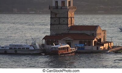 Maidens Tower Close-up, Tilt - Istanbul, Maidens Tower at...