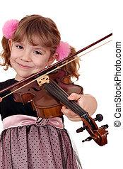 hermoso, poco, niña, violín