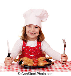 little girl cook ready for lunch