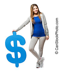 Young Woman With Dollar Sign