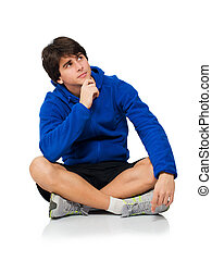Young Man Contemplating Isolated On White Background