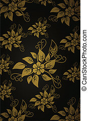 Charcoal vertical floral elements wallpaper