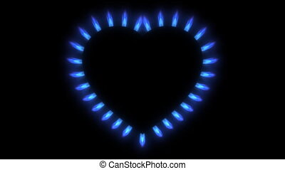 Blue gas stove in the dark