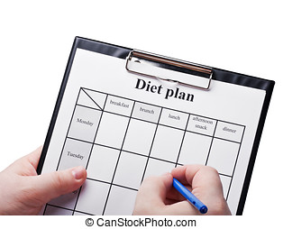 draw up a diet plan isolated on white background