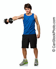 Young Man Holding Weightlift Isolated On White Background