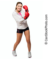 Young Woman With Boxing Glove Isolated On White Background