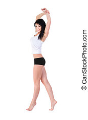 Young fitness woman doing exercise. Isolated on white...