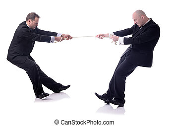 tug of war - two businessmen in a tug of war isolated on...