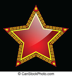 Red star - Illustration of the red star on a black...