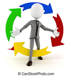 3d man businessman and colorful arrows, on white