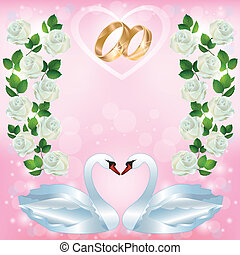 Wedding greeting or invitation card with pair of swans -...
