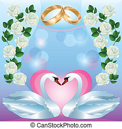 Wedding greeting or invitation card with swans - Wedding...