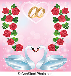 Wedding greeting or invitation card with two swans - Wedding...