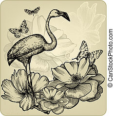 Vintage background with blooming roses, bird flamingos and...