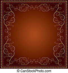 Background with decorative golden ornament - Brown...