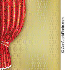 Golden background with red curtain and pattern Place for...