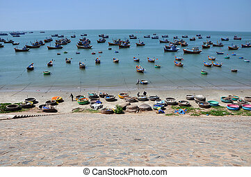 Fishing boats in Mui Ne, Vietnam - MUI NE, VIETNAM - MARCH...