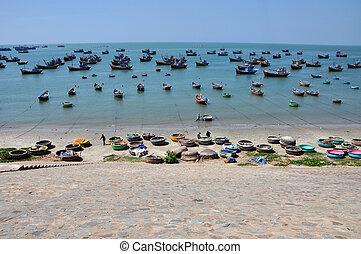 Fishing boats in Mui Ne, Vietnam - MUI NE, VIETNAM - MARCH...