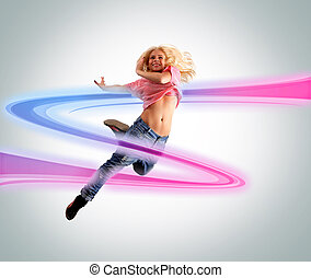 Young woman dancing Colorful swoosh