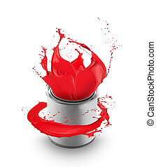 Red paint splashing out of can, isolated on white background