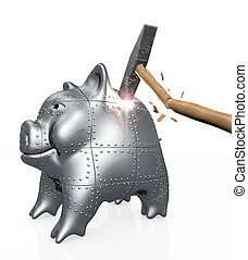 armored piggy bank resists to a hit of a hammer - an armored...
