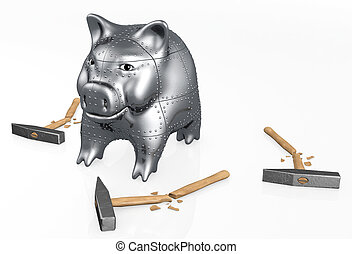 armored piggy bank resists to hammers
