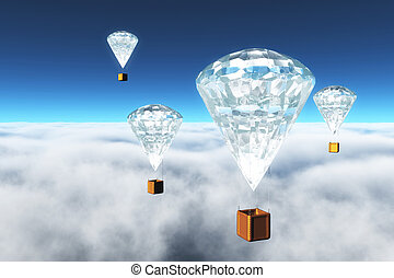 diamond hot-air balloons over clouds