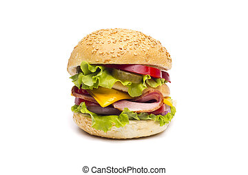 big hamburger isolated on white
