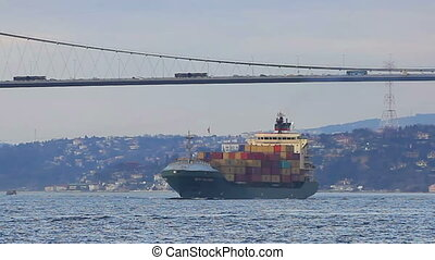 Container ship with full of contain - Container ship sails...
