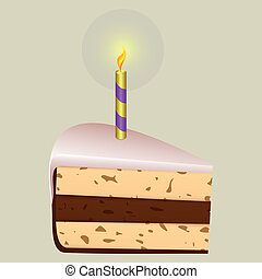 Festive piece of cake - Piece of birthday cake on a light...