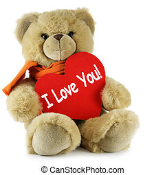 """I Love You - Teddy bear and big red heart with text """"I Love..."""
