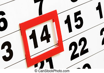 Valentines day - Sheet of wall calendar with red mark on 14...