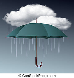 Rainy weather icon with clouds and umbrella. Vector...