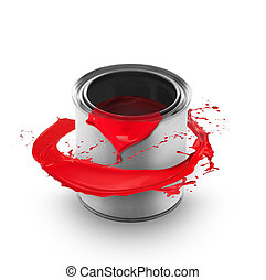 Red paint splashing around the can, isolated on white background