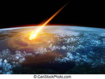 Impact Earth - A Meteor glowing as it enters the Earth's...