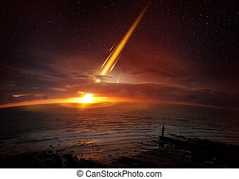 Earth Extinction Event - A six mile 10 kilometre wide meteor...