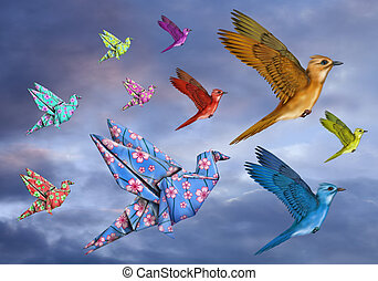 Origami Bird Dreamscape - Origami and stylized birds flying...